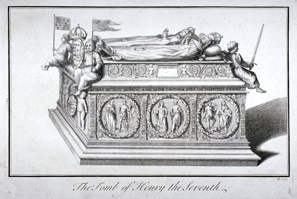 Detail of Tomb of Henry VII and Queen Elizabeth in the king's chapel, Westminster Abbey, London by Benjamin Cole