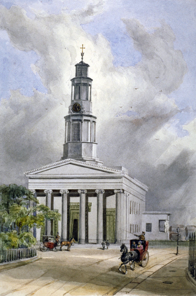 Detail of View of St Pancras New Church with carriages on Euston Road, London by W Guest