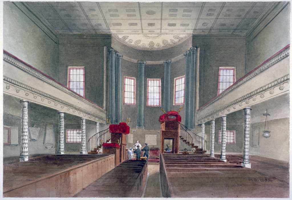 Detail of Interior view of St Pancras New Church, London by W Guest