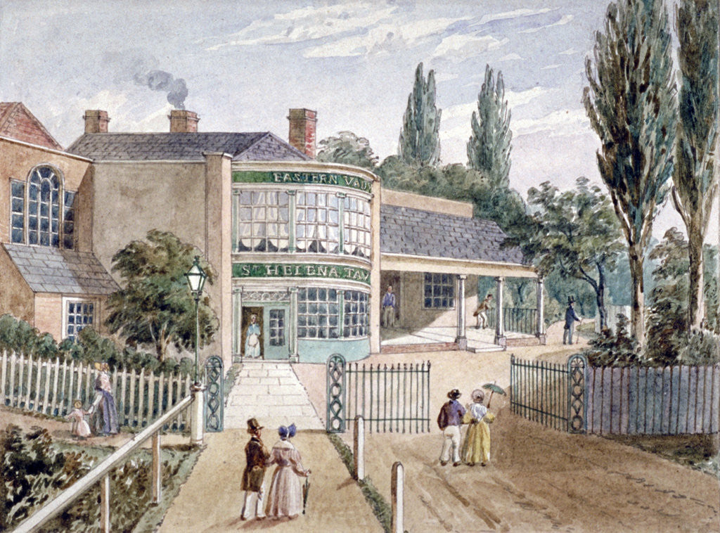 Detail of St Helena tea gardens, Lower Road, Rotherhithe, London by Anonymous