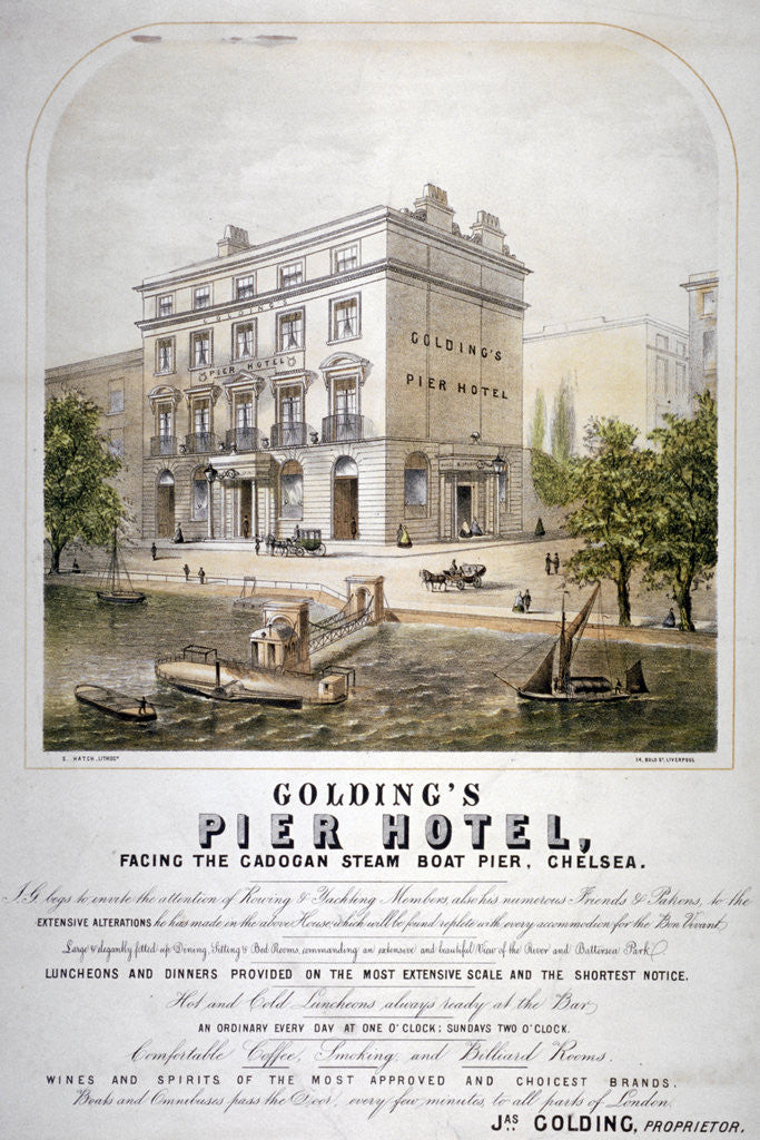 Detail of Advertisement for Goldings Pier Hotel, Chelsea, London by Anonymous