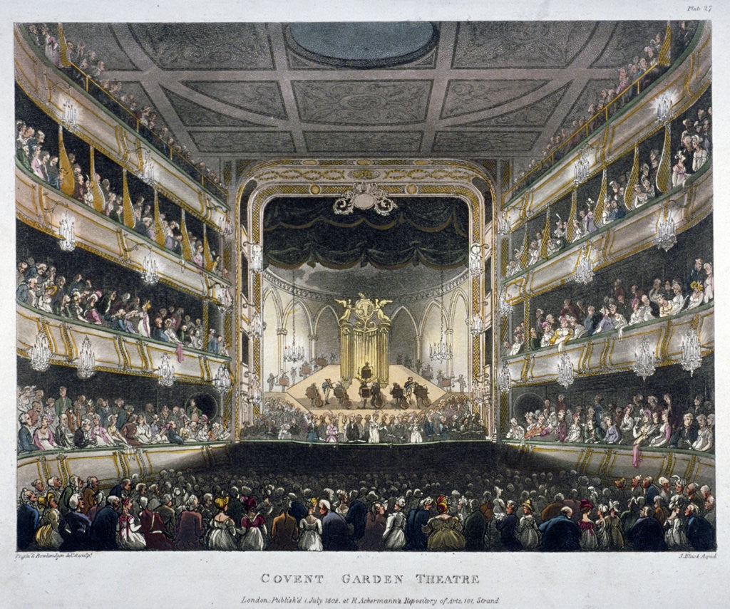 Detail of Interior view of Covent Garden Theatre, Bow Street, Westminster, London by J Bluck