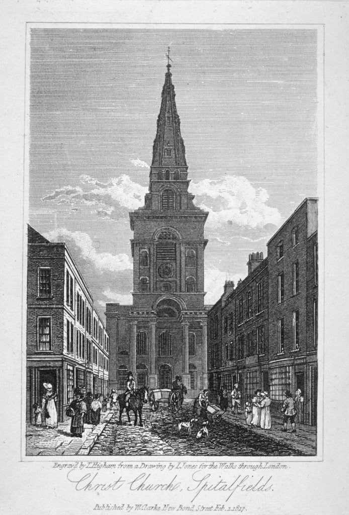 Detail of View of Christ Church, Spitalfields, London by Thomas Higham
