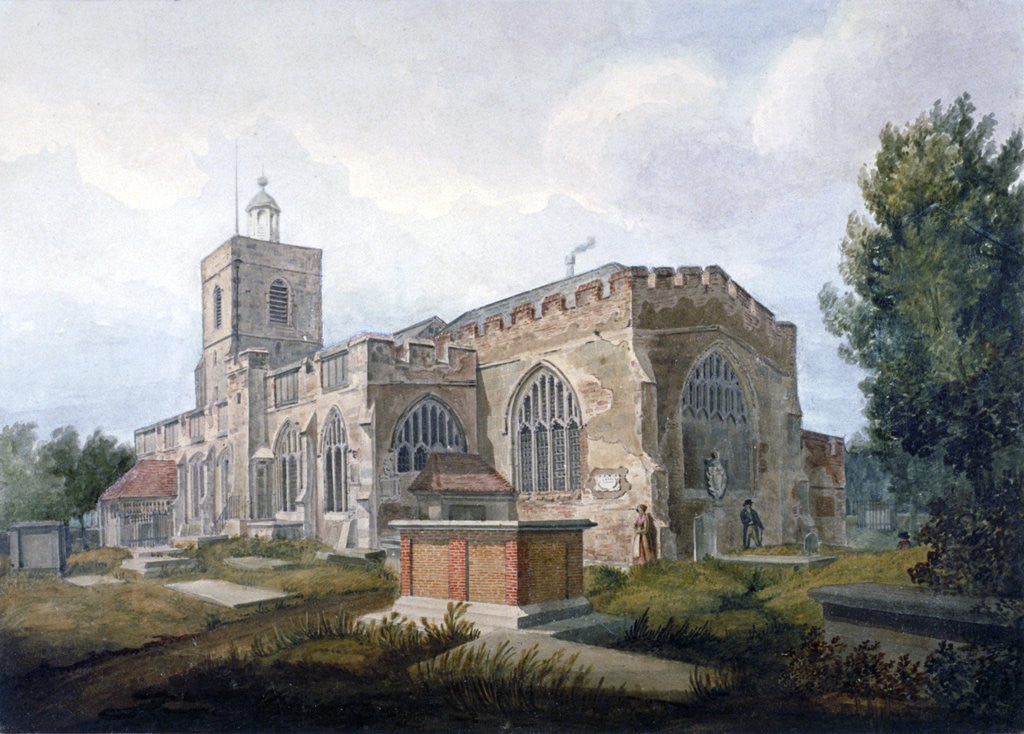 Detail of South-east view of the Church of St Dunstan, Stepney, London by Henry Sass