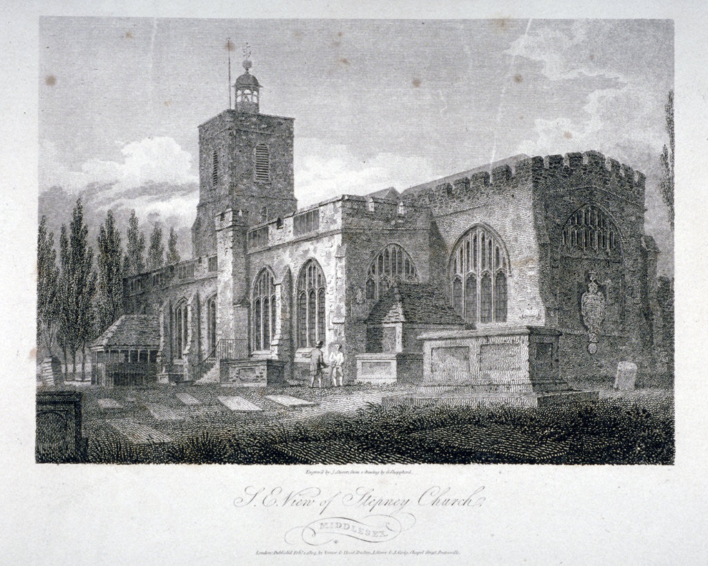 Detail of South-east view of the Church of St Dunstan, Stepney, London by James Sargant Storer