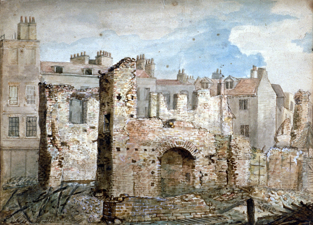 Detail of Ruins of a fire-damaged building in Bear Yard, Westminster, London by Daniel Thorn
