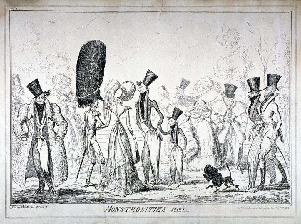 Detail of Monstrosities of 1821 by George Cruikshank