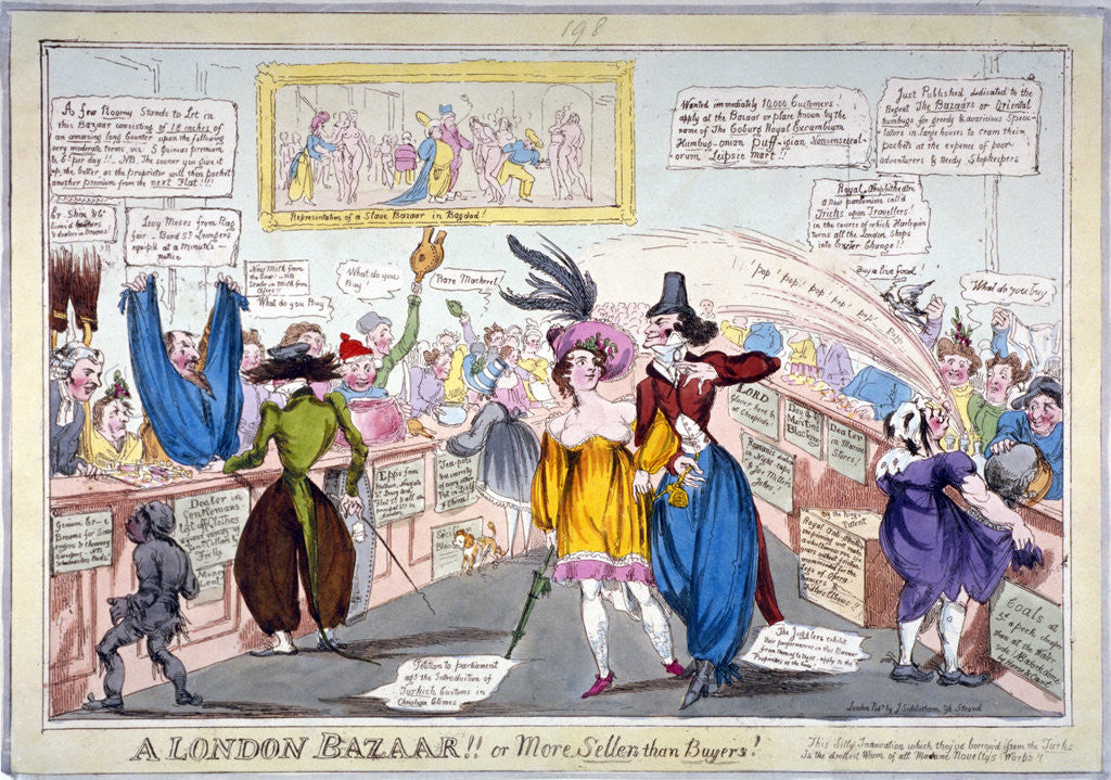 Detail of A London Bazaar!! or more sellers than buyers!... by Anonymous