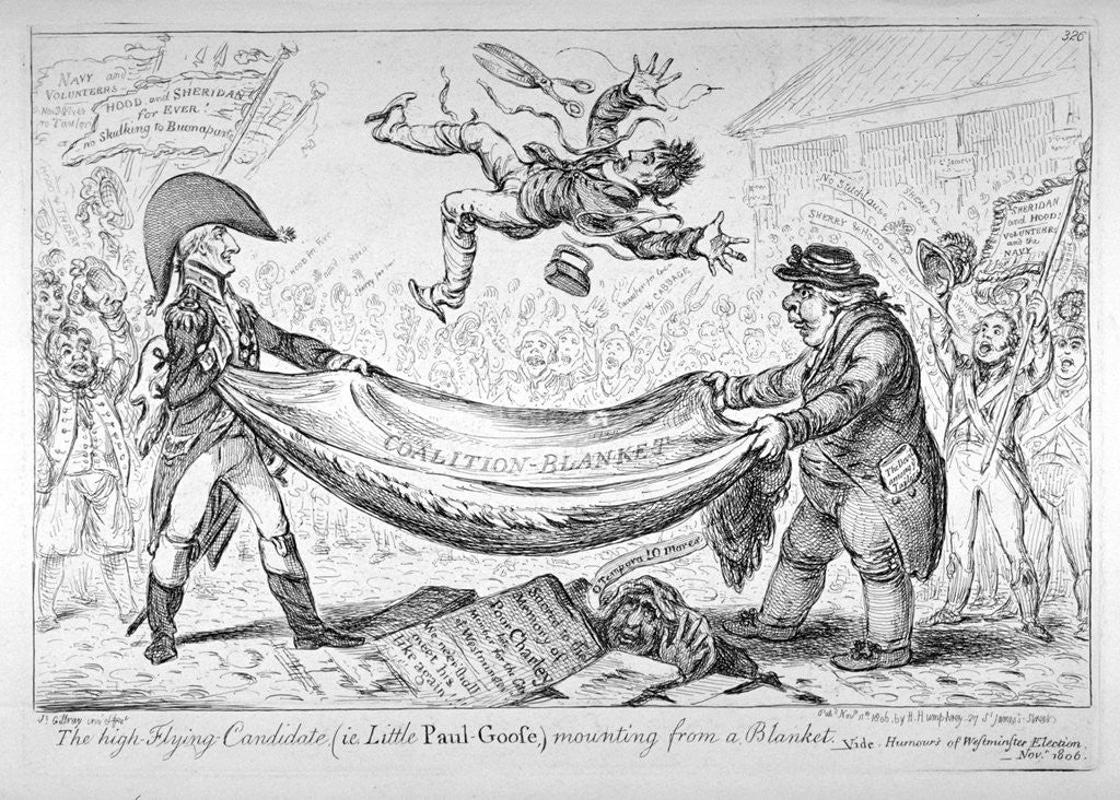 Detail of The high-flying candidate, (ie Little Paul-Goose), mounting from a blanket by James Gillray