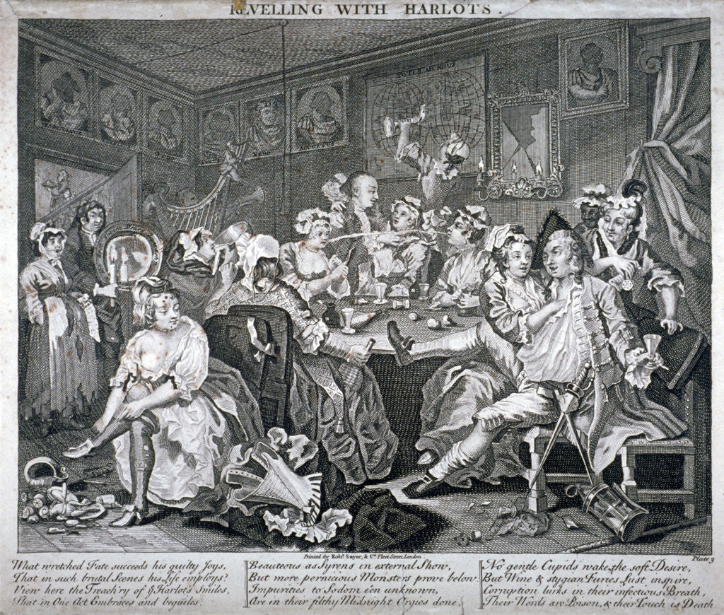 Detail of Revelling with Harlots, plate III of A Rake's Progress by Anonymous