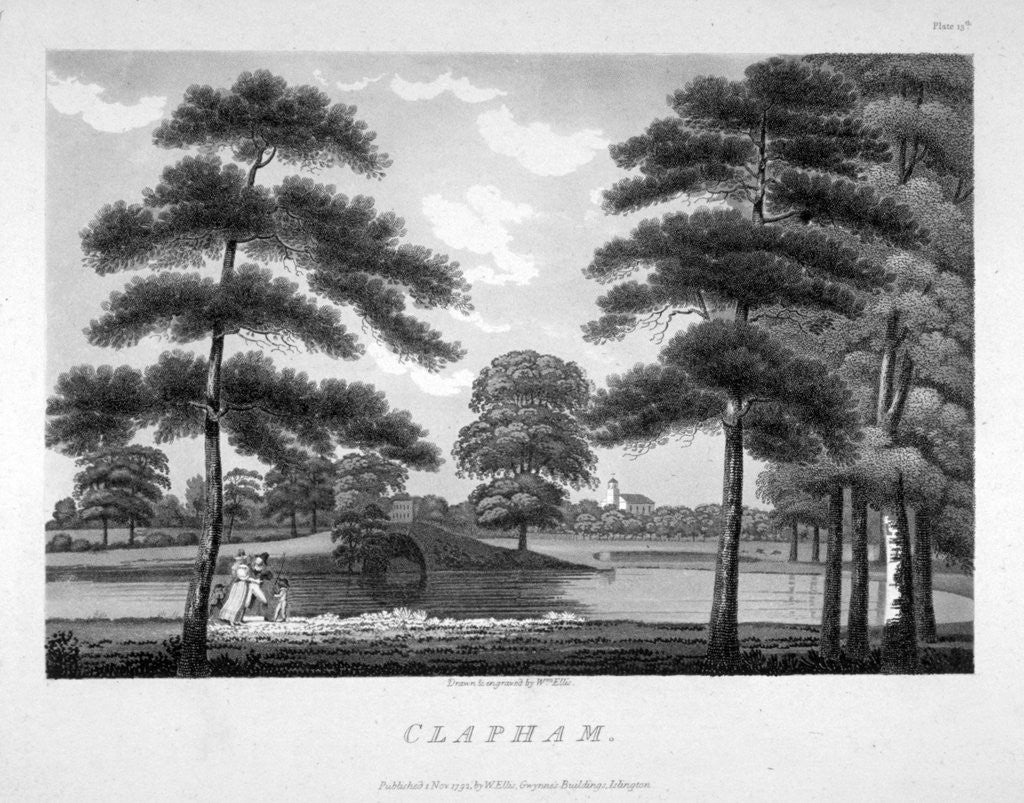 Detail of View of Clapham, London by William Ellis