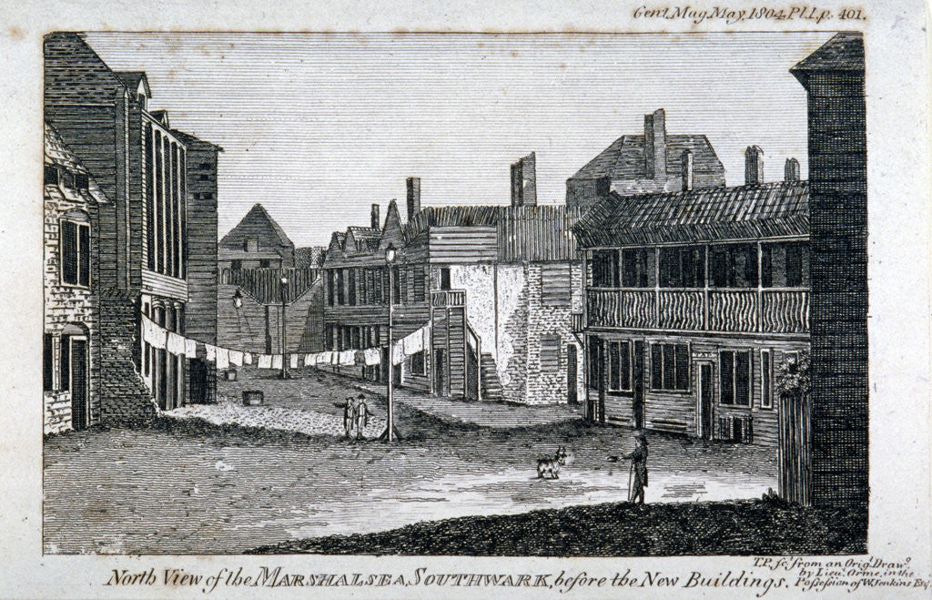 Detail of North view of Marshalsea prison on Borough High Street, Southwark, London by Anonymous