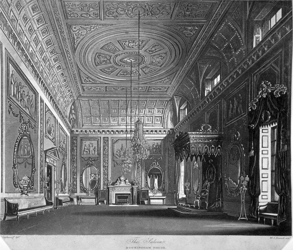 Detail of View of the saloon in Buckingham House, Westminster, London by William James Bennett