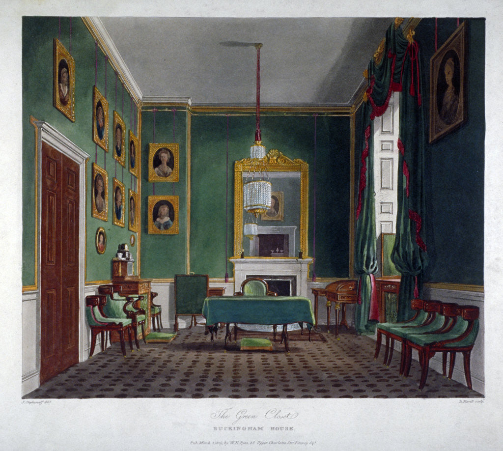 Detail of Interior view of the green closet in Buckingham House, Westminster, London by Daniel Havell