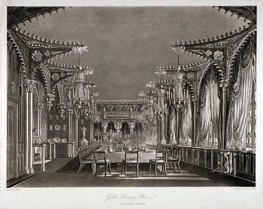 Detail of Interior view of the gothic dining room in Carlton House, Westminster, London by Thomas Sutherland