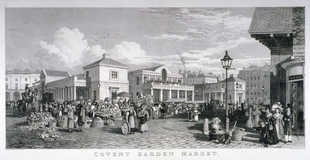 Detail of Covent Garden Market, Westminster, London by Frederick James Havell