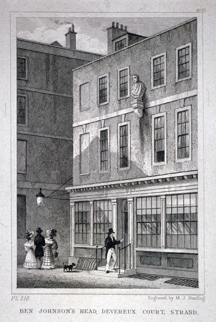 Detail of The Ben Johnson's Head inn, Devereux Court, Westminster, London by MJ Starling