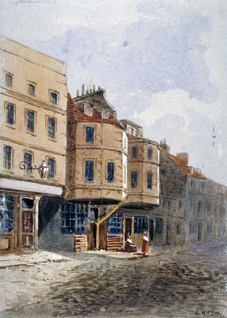 Detail of View of Oliver Cromwell's house, Clements Lane, Westminster, London by Frederick Nash