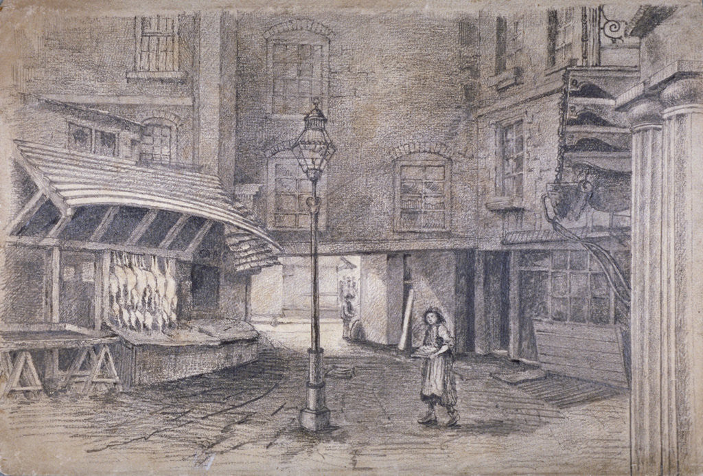 Detail of Poulterer's shop in Clare Market, Westminster, London by E Holah