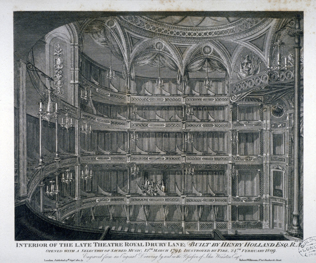 Detail of Interior of the Theatre Royal, Drury Lane by Thomas Dale