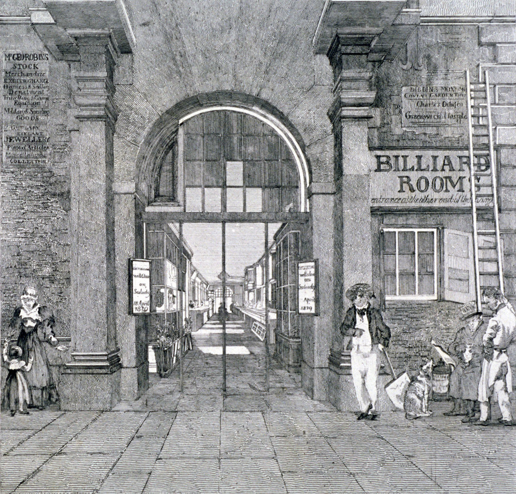 Detail of Western entrance to Exeter Change, Westminster, London, 1829 by Anonymous