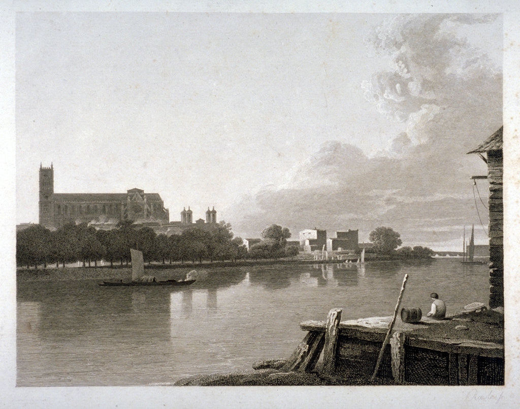 Detail of Westminster Abbey from the opposite side of River Thames, London by Samuel Rawle