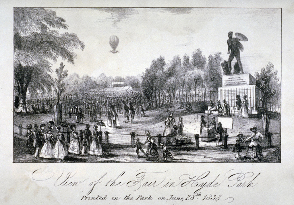 Detail of A fair held in Hyde Park during the coronation of Queen Victoria in 1838 by Anonymous