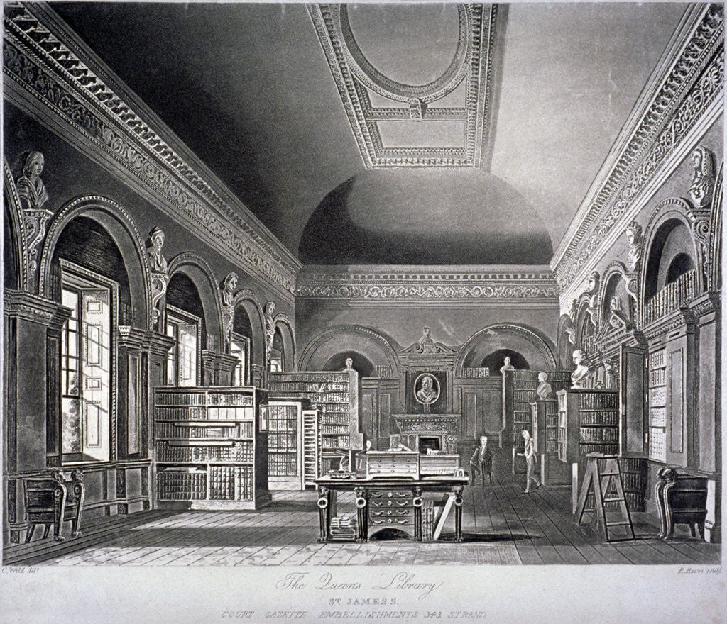Detail of The Queen's library in St James's Palace, Westminster, London by R Reeves