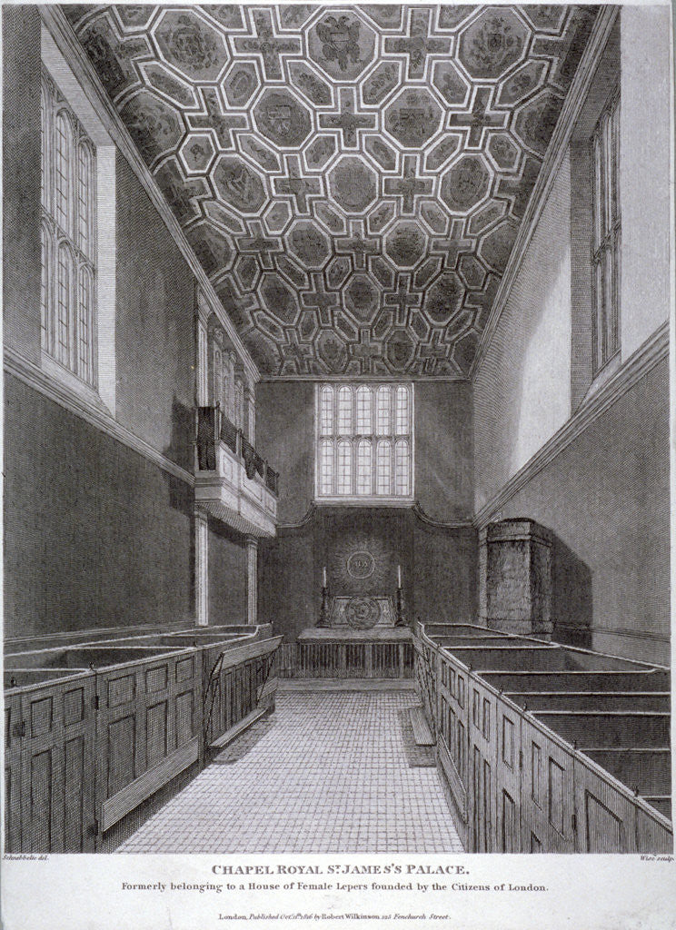 Detail of Interior view of the Chapel Royal in St James's Palace, Westminster, London by