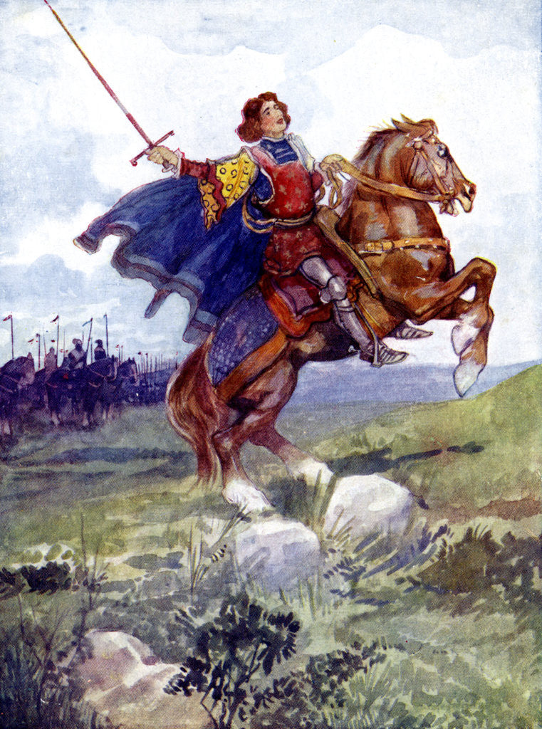 A knight riding a rearing horse posters & prints by Anonymous