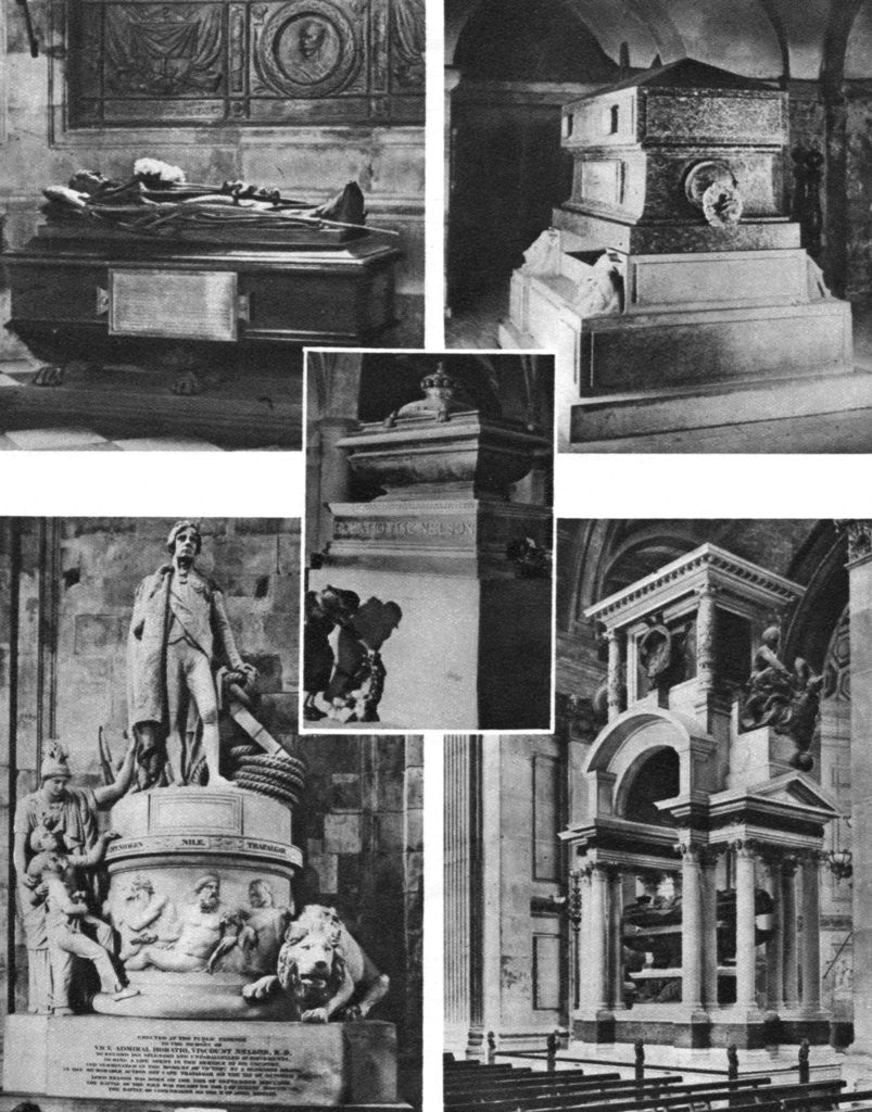 Detail of 'Britain's glorious dead honoured by tomb and monument in St Paul's Cathedral' by Anonymous