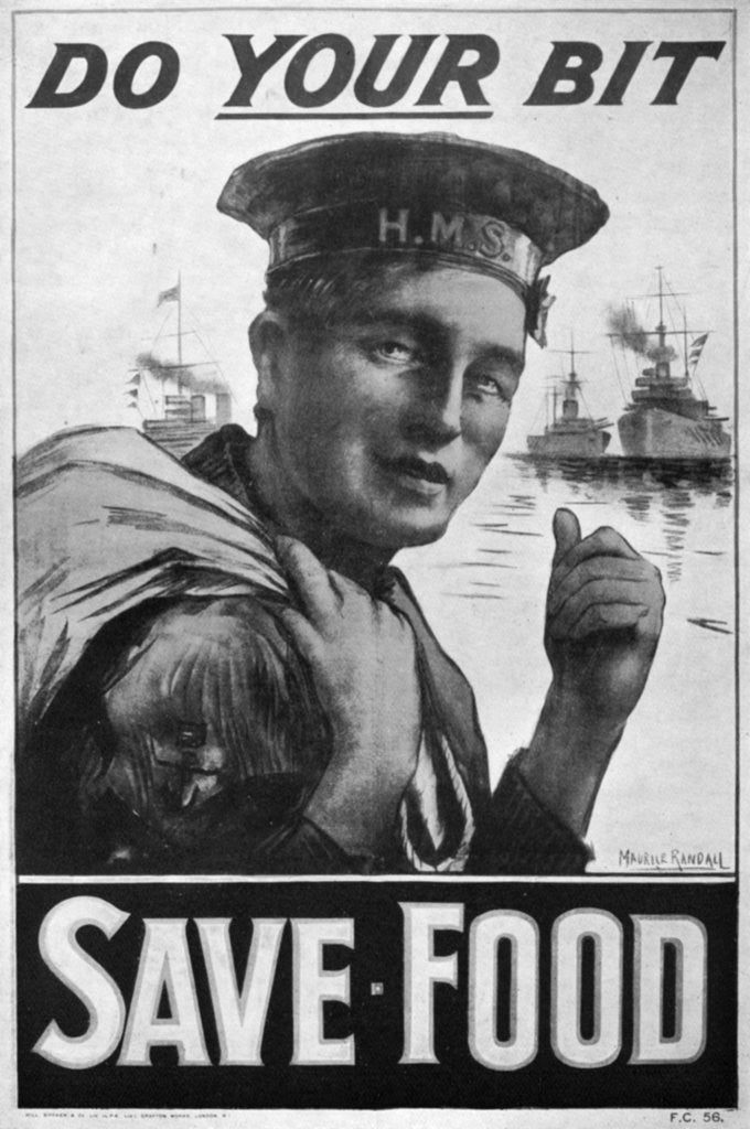 Detail of 'Do Your Bit - Save Food', food economy poster, First World War by M Randall