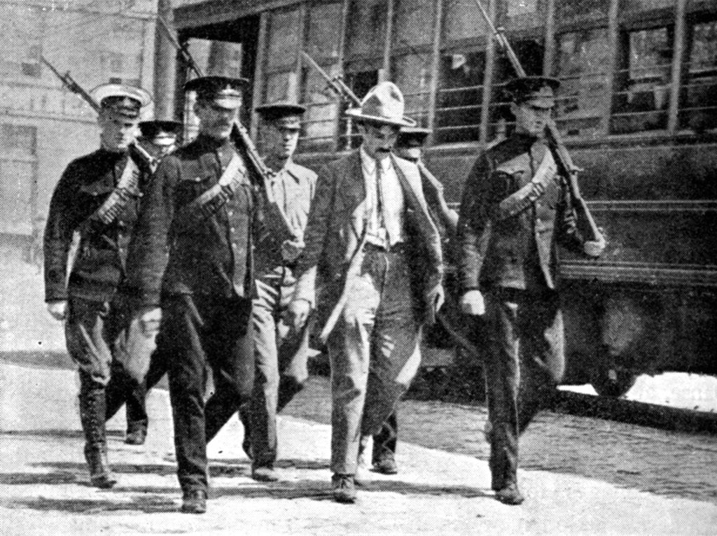 Detail of German spy escorted to military prison by the Canadian authorities, First World War by Anonymous