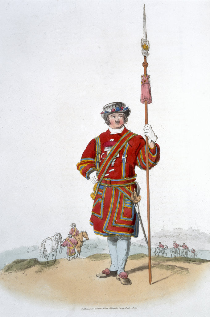 Detail of Yeoman of the King's Guard by William Henry Pyne