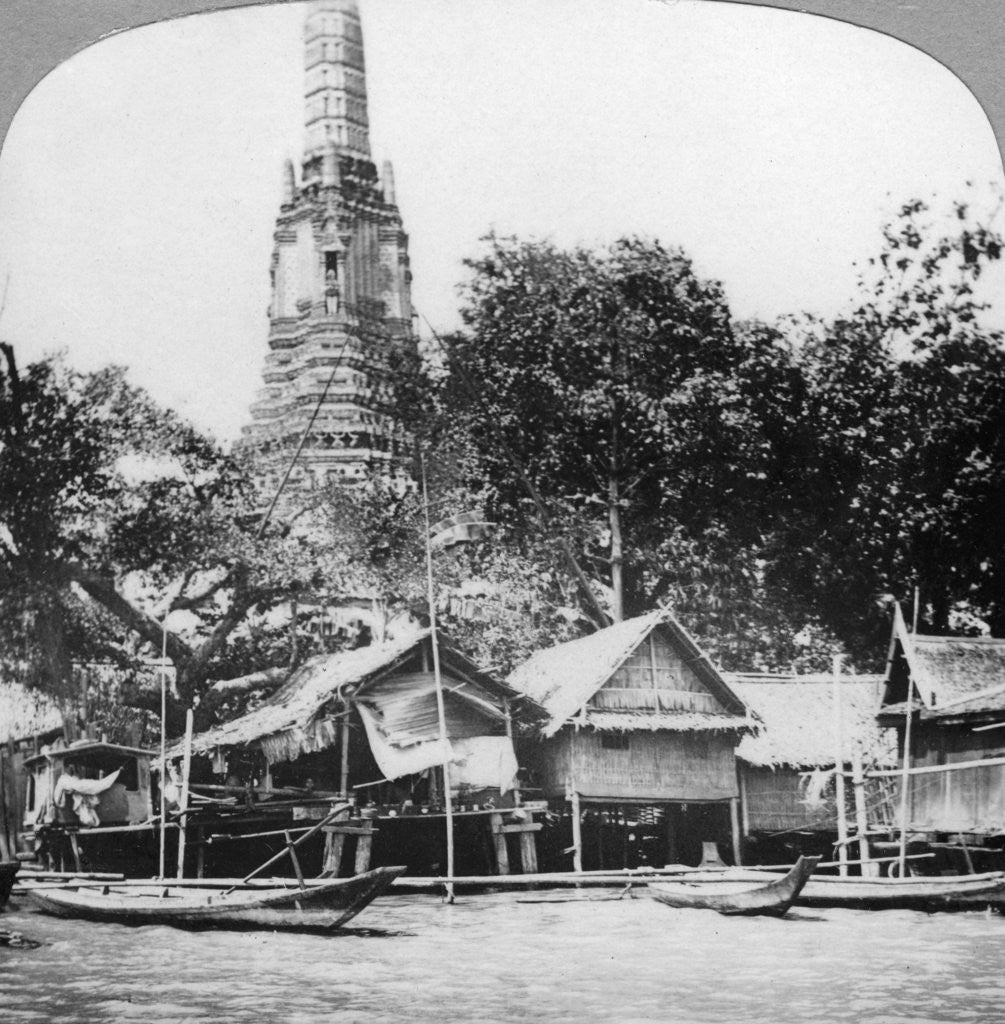 Detail of Dhows and houses on the Chao Phraya River, Bangkok, Thailand by Anonymous
