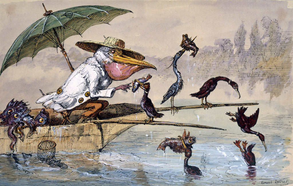 Detail of Cormorants presenting fish to a pelican in a punt under an umbrella by Ernest Henry Griset