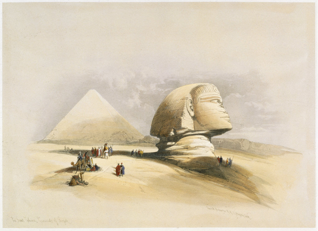 Detail of The Great Sphinx and the Pyramids of Giza by David Roberts
