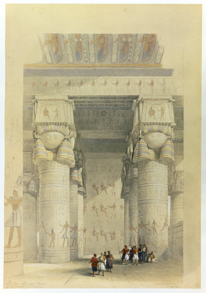 Detail of View from under the portico of the Temple at Denderah by David Roberts