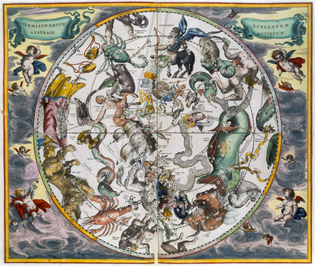 Detail of Map of the celestial Southern Hemisphere by Andreas Cellarius