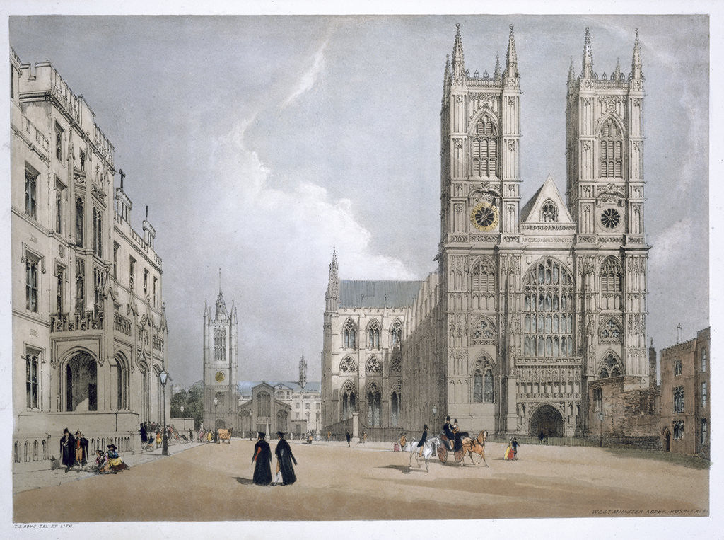 Detail of Westminster Abbey and Hospital by Thomas Shotter Boys