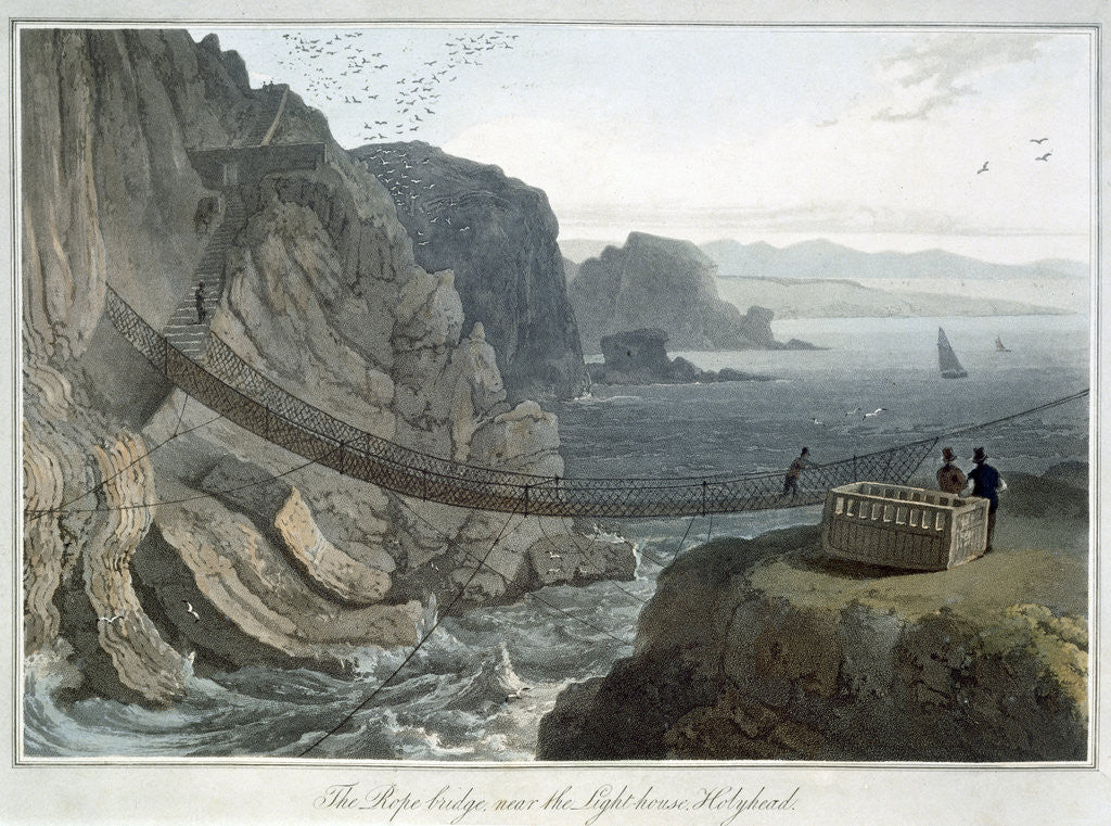 Detail of The Rope Bridge near the Lighthouse by William Daniell