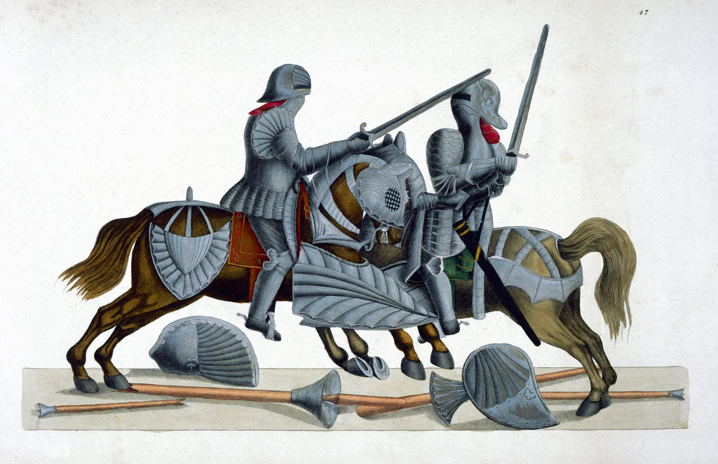 Detail of Two knights jousting at a tournament by Friedrich Martin von Reibisch