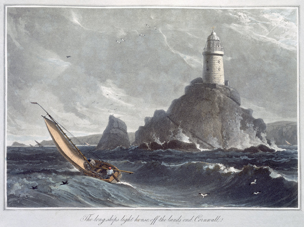 Detail of The Longships Lighthouse off the Lands End by William Daniell