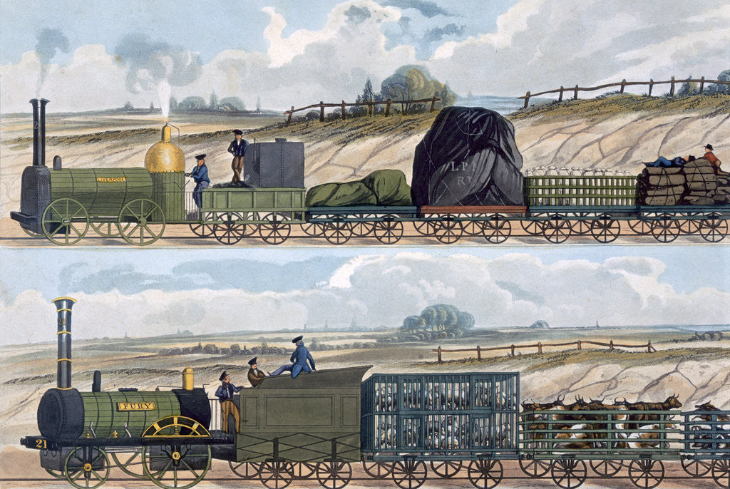 Detail of Trains on the Liverpool and Manchester Railway by SG Hughes