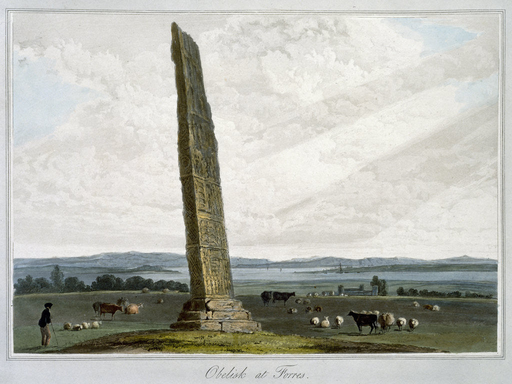 Detail of Obelisk at Forres by William Daniell