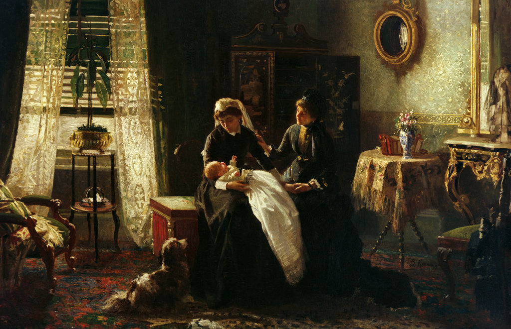 Detail of A domestic interior with two women wearing black, one holding a baby', also known as 'Maternal Advice' by A. M. Rossi