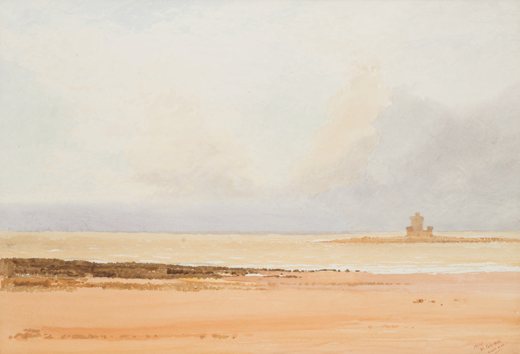 Detail of Brown rocks and grey sea, Douglas by John Miller Nicholson