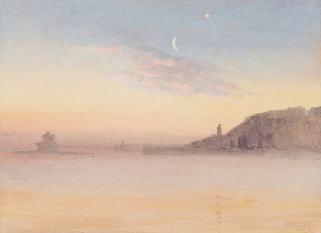 Detail of Calm winter morning, Douglas by John Miller Nicholson