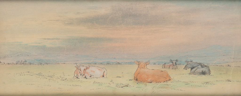 Detail of Cattle and landscape by John Miller Nicholson