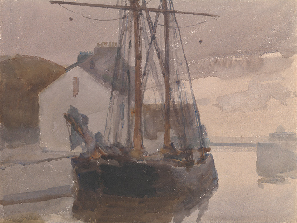 Detail of Schooner, Castletown Harbour by Archibald Knox